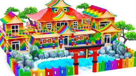 建立巴克球日式寺庙建筑模型玩具