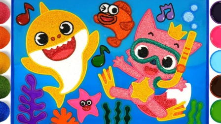 用泡沫粘土为儿童着色碰碰狐宝宝鲨鱼,教你如何绘制碰碰狐果冻