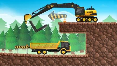 全能老司机之挖掘机和翻斗车模拟装载石头