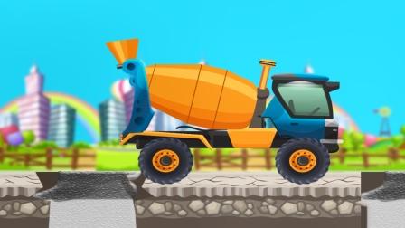工程车儿童游戏,组装混凝土搅拌车以及施工