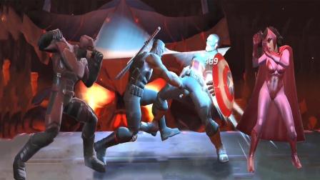 刀锋战士和夜魔侠对战美国队长和猩红女巫