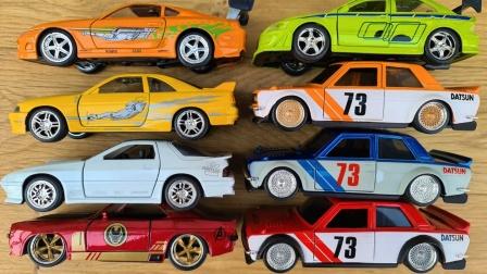 彩色金属赛车皮卡车汽车模型玩具