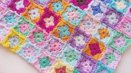 「钩针编织」漂亮的彩色方格图案!