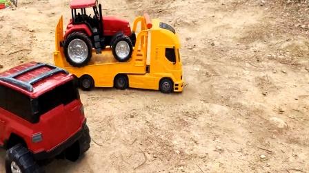 遥控工程车农场四轮拖车,平板卡车运输拖车头,自卸车装载车搬运
