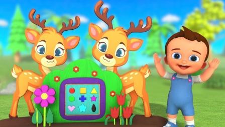 孩子们学习形状 卡通鹿玩具积木