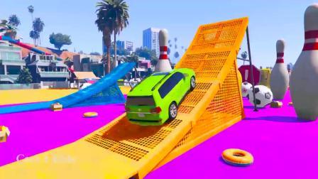 冰雪公主出发找汽车,绿色的汽车真可爱,小公主开车技术真棒