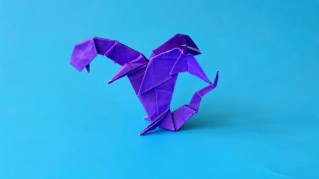 怎么折纸翼龙恐龙,一遍学会了,折纸王子视频教程