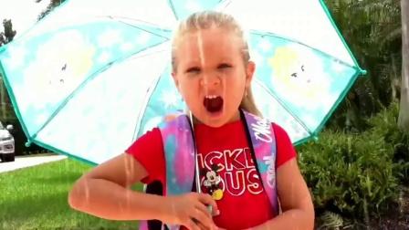小女孩早早起床去公园玩,没想到遇到下雨天