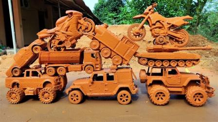 酷!坦克车、挖掘机、翻斗车、工程车推起来会怎样呢?