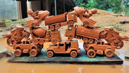 哇!搅拌车、翻斗车、挖掘机、工程车究竟能叠多高?
