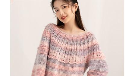 紫苏编织第195集花影钩针套衫袖子的钩法(11)