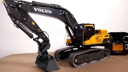 遥控工程车,一辆黄色挖掘机自动更换挖斗