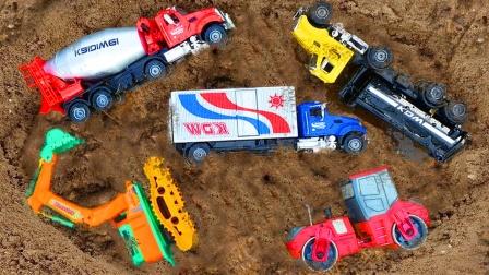 儿童益智玩具:救援和认识工程车,挖掘机、翻斗车、吊车、搅拌车