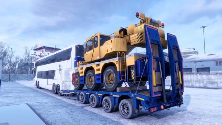 【欧洲卡车模拟2】游戏骚操作 大巴车拖挂拉货
