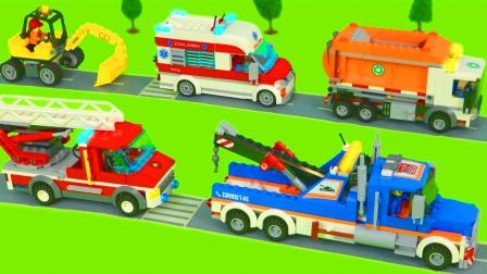 儿童益智玩具:消防车、小火车、推土机、警车、环卫车、拖拉机!