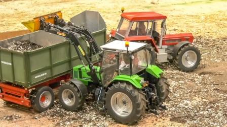 收割机和工程车各自在农田和工地作业