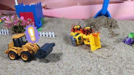 工程车故事:挖掘机被雷劈着火了,消防车前来救援