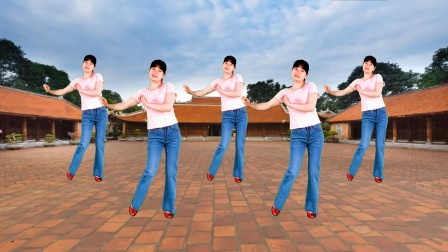 一曲《月亮弯弯在天边》简单欢快48步大众健身广场舞,附教学