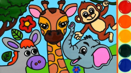 动物长颈鹿果冻着色和绘画小知识