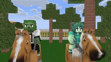我的世界动画:小僵尸在森林中碰上恶狼