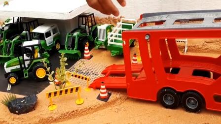 工程车玩具,红色大卡车运输农场里拖车装载车