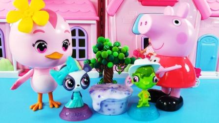 佩奇和朵朵玩手工史莱姆,紫色系的奶茶杯,简单好玩DIY