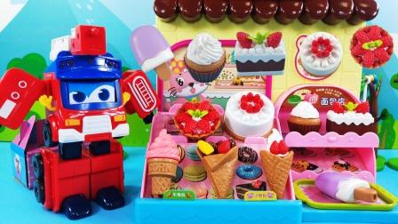 百变校巴消防车做甜品店长,组建蛋糕冰淇淋食玩积木