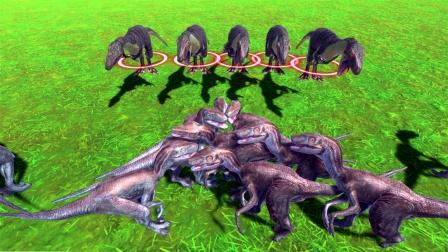 动物战争模拟:一群迅猛龙VS小霸王龙 小龙打架也疯狂
