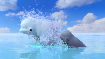 机器人在海边度假,偶遇两头鲸鱼跳出海面
