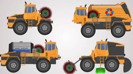 工程车玩具变形成环卫车清扫城市道路