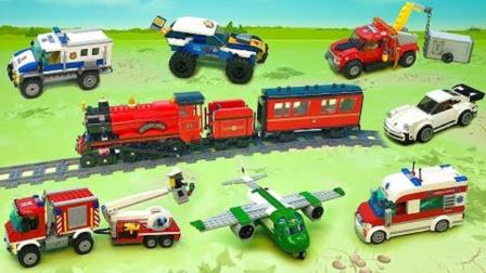 拼搭彩色积木警车和救援飞机玩具