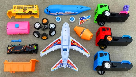 儿童益智玩具:手工diy玩具车,搅拌车、校车、翻斗车、飞机!
