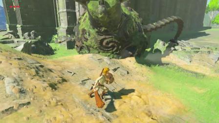 塞尔达传说旷野之息:高台上有块巨石,推下去会触发爆炸桶