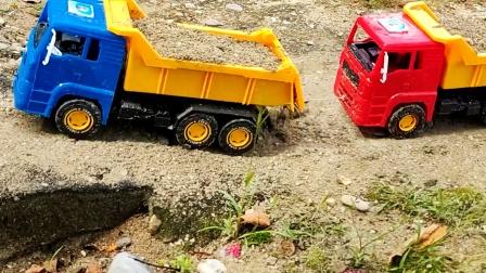 遥控工程车施工,自卸车装载车挖掘机搬运泥土铺路