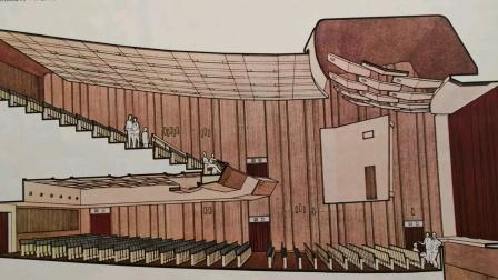 50一一70年代建筑画报图片大全、宣传画(钢笔淡彩)。78年版建筑画选,中国建筑工业出版社编辑部《上海中兴剧场剖面透视》