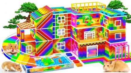 为小动物拼搭三层家庭住宅小屋