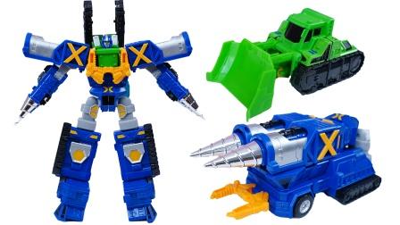 咖宝车神之重工战队:破土卫士二合一变形工程车玩具