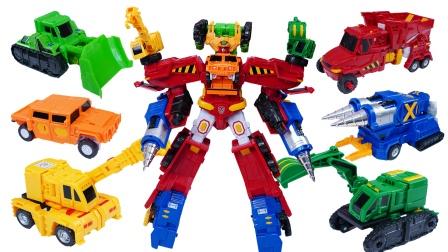 咖宝车神之重工战队:超级创建巨人六合一工程车系列玩具