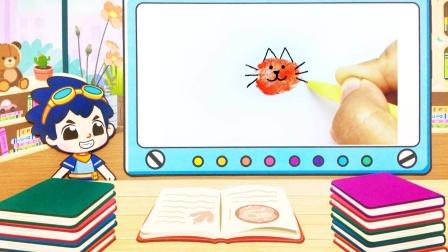 旗旗号手绘动画:用指纹画一只小猫咪,超可爱,皮皮鲁学会了吗