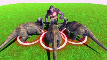 动物战争模拟:三只三角龙VS五郎巨人 胜负难预料 你猜谁能赢