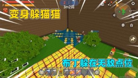 迷你世界:变身躲猫猫!布丁隐身躲在房顶上,会被抓捕者找到吗?