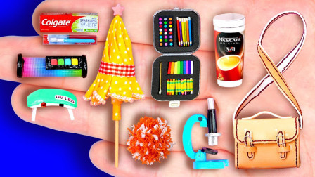 儿童益智亲子手工:给芭比制作啦啦队手花、队服和雨伞、咖啡
