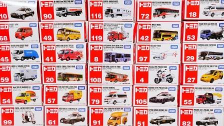 合金环保车、汉堡车和施工维修车玩具拆盒