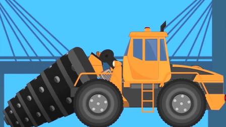 工程车玩具变形成巨型钻机和起重机修建水底隧道
