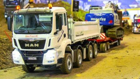 缤纷大卡车挖掘机装载机模型玩具展示