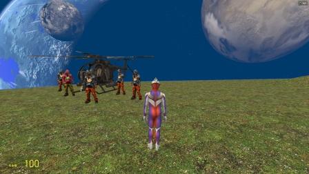 迪迦在太空玩,发现了人类乘着直升机也来了
