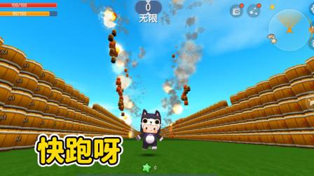 迷你世界:做炸药桶长廊 点燃一边后 吃烤鸡逃跑 能跑过爆炸的速度吗