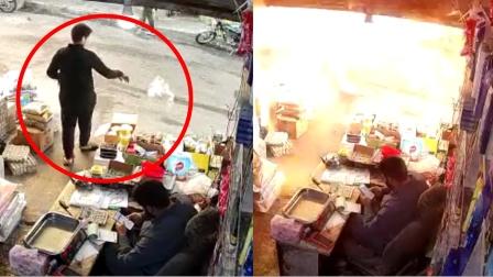 监拍:叙利亚一男子商店门口扔垃圾 转身后突然落下炮弹!