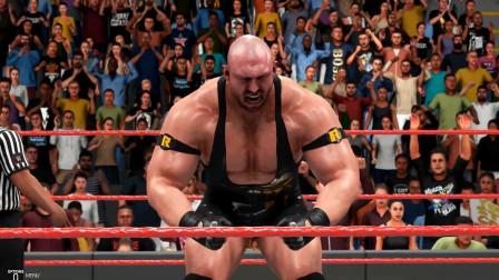 WWE巨人莱贝克对战三壮士,莱贝克一旦发威,对手只有倒地投降的份