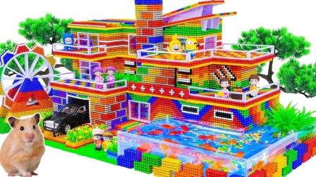 彩色巴克球搭建一座大别墅和鱼池